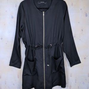 Zara zip up black long sleeve mini tie dress